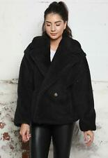 Short Double Breasted Collared Borg Teddy Coat in Black