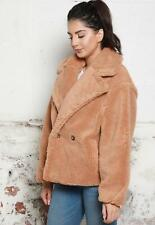 Short Double Breasted Collared Borg Teddy Coat in Camel