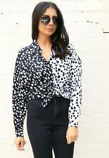 Two Tone Mixed Dalmatian Print Long Sleeve Button Down Shirt Blouse Black White