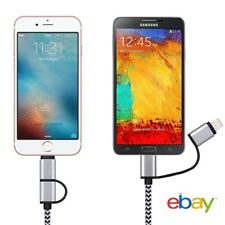 NEW 2 in 1 Micro USB Data Charging Cable For iPhone X XR 7 8 Samsung Android
