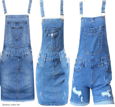 NEW Womens Denim Dungaree Dress Ladies Jean Pinafore Skirt Blue Sizes 6 to 14