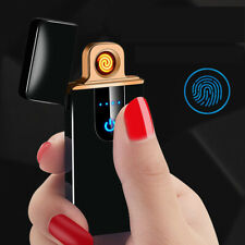 USB Electric Fingerprint Touch Flameless Torch Rechargeable Windproof Lighter