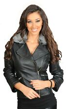 Womens Luxurious Black Leather Biker Jacket Removable Collar Latest Hot Seller
