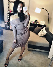 New Bronze Bodycon Fitted Dress Bardot Off Shoulder Party Womens Ladies Size ❤