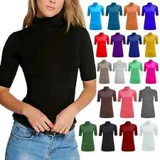 Womens Short Sleeve Turtle Polo Neck Top Ladies Plain Stretchy Party Wear Shirt