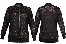 Ladies Fancy Floral Lace Pattern Ribbed Jacket Womens Zip up Bomber Jacket Top