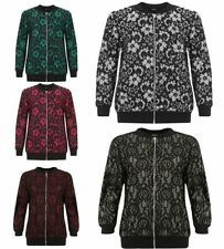 Ladies Floral Ribbed Hem Jacket Top Womens Front Zip Up Party Wear Bomber Jacket