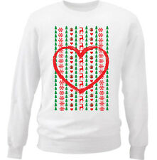 CHRISTMAS LOVE HEART - NEW WHITE COTTON SWEATSHIRT