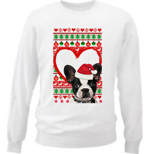 BOSTON TERRIER CHRISTMAS PATTERN HEART 1 - NEW WHITE COTTON SWEATSHIRT