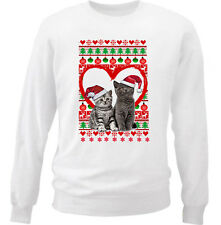 CAT CATS  CHRISTMAS PATTERN HEART 1 - NEW WHITE COTTON SWEATSHIRT