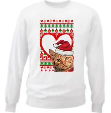 CAT GINGER CHRISTMAS PATTERN HEART 1 - NEW WHITE COTTON SWEATSHIRT