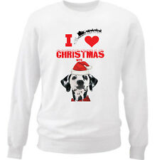 DALMATIAN I LOVE CHRISTMAS WITH - NEW WHITE COTTON SWEATSHIRT