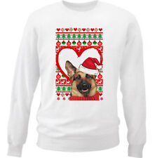 GERMAN SHEPHERD CHRISTMAS PATTERN HEART 1 - NEW WHITE COTTON SWEATSHIRT