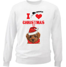 I LOVE CHRISTMAS WITH POODLE - NEW WHITE COTTON SWEATSHIRT