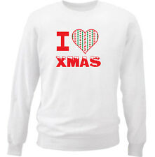 I LOVE CHRISTMAS HEART 2 - NEW WHITE COTTON SWEATSHIRT