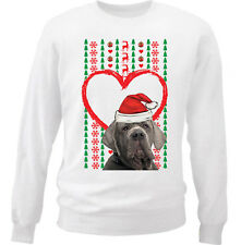 MERRY CHRISTMAS HEART PATTERN NEAPOLITAN MASTIFF - NEW WHITE COTTON SWEATSHIRT
