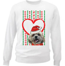 MERRY CHRISTMAS HEART PATTERN SHIH-TZU  - NEW WHITE COTTON SWEATSHIRT