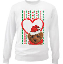 MERRY CHRISTMAS HEART PATTERN POODLE  - NEW WHITE COTTON SWEATSHIRT