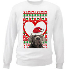 NEAPOLITAN MASTIFF CHRISTMAS PATTERN HEART 1 - NEW WHITE COTTON SWEATSHIRT