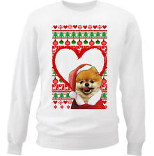 POMERANIAN  CHRISTMAS PATTERN HEART 1 - NEW WHITE COTTON SWEATSHIRT