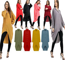 06b91a0dbe Women's Ladies Collared Chiffon Button Hi Lo Long Sleeve Shirt Dress Dip Hem  Top