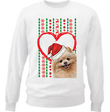 POMERANIAN MERRY CHRISTMAS HEART PATTERN - NEW WHITE COTTON SWEATSHIRT