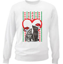 CAT CATS 6  MERRY CHRISTMAS HEART PATTERN - NEW WHITE COTTON SWEATSHIRT