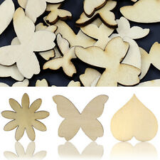50PCS MIXED SIZES BUTTERFLY FLOWER HEART GOLDEN WOOD BUTTONS DIY SEWING BOWL SMA