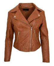 Womens Designer Leather Biker Jacket Soft Tan Fitted Quilted Zip Fasten Coat