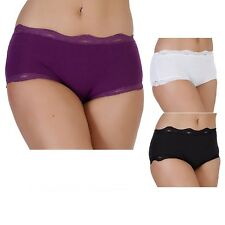 Ladies Women Cotton Rich Lace Trim Briefs Underwear UK