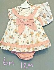 Baby Girls Spanish Style Romany Diamante /& Gingham Ribbon Bows 3 Piece Outfit