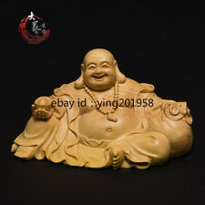Art Deco Boxwood Wood Carved Buddha Statue Figure Sculpture Collection Craft
