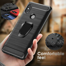 Ultra Slim Ring Holder Carbon Rubber Case Cover For Xiaomi Redmi Note 7 6 Pro 6A