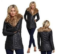 NEW WOMENS LADIES FUX FUR COLLAR PU PVC LEATHER LOOK TRENCH BIKER JACKET COAT
