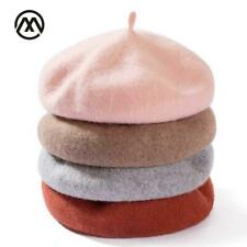 Lady spring Winter Berets Hat Painter style hat Women Wool Vintage Berets Solid