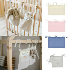 Newborn Baby Crib Pocket Nursery Organizer Solid Bedside Toy Hanging Storage Bag