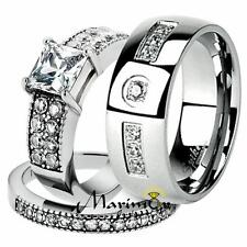His & Her Stainless Steel 2.07 Ct Cz Bridal Ring Set & Men Zirconia Wedding Band