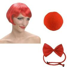 RED NOSE DAY CLOWN SET JUMBO BOW TIE SPONGE NOSE CURLY WIG ACCESSORY FANCY DRESS