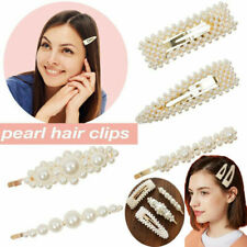 Women's Girls Pearl Stick Bridal Gold Hairpin Or clip Slide Grips Snap Barrette