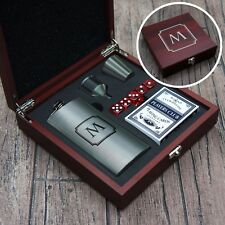 Personalized Flask Set Engraved w/ Design Options  including Cards & Dice Shown