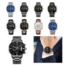 Luxury Mens Watches Quartz Stainless Steel Analog Sports Wrist Watch Waterproof