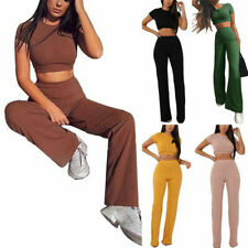 New Women  Two Piece Set Ribbed Neck Crop Top Long Pants Short Sleeve Tracksuit