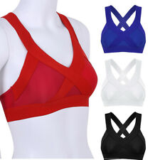 Ladies Womens Criss Cross Back High Impact Sports Bra Top Vest Gym Fitness Yoga