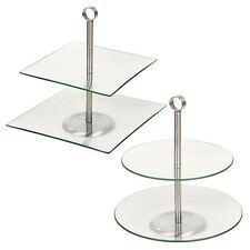 3-stöckige Whatnot Glass Etagere Table Stand Fruit Bowl Cake Dish Vintage