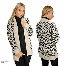 New Ladies Womens Long Sleeve Knitted Animal Leopard Print Warm Open Cardigan