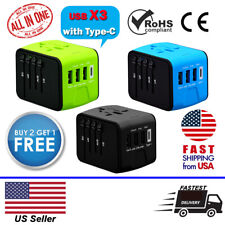Universal Travel Power Adapter Wall Charger 3X USB / Type-C Europe, US, UK, Asia