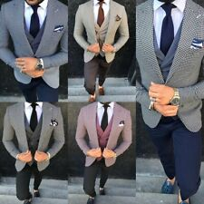 Men's Houndstooth Dogstooth Suits Wedding Blazer Formal Coat Party Slim Tailored