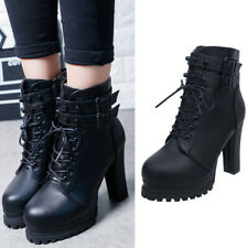 Ladies Chunky Platform Ankle Boots Womens Retro Goth Combat Lace Up Casual Shoes