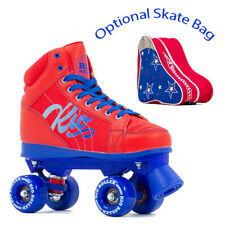 Rio Roller Lumina Quad Roller Skates UK 13J-8A Red/Blue - Optional Skate Bag