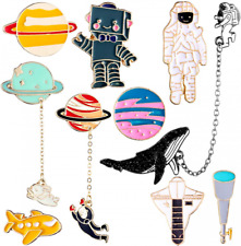 10 Pieces Enamel Pin Set Cartoon Lapel Brooch Space Badge for Clothes Bag Jacket